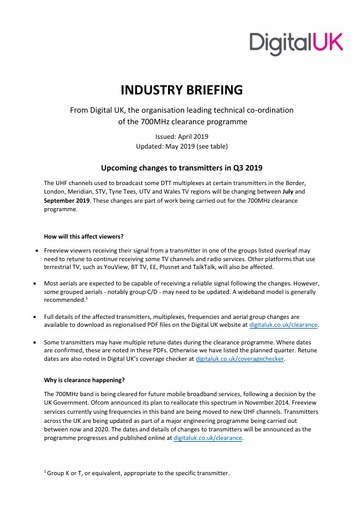Digital UK Installer Briefing for 700MHz Clearance Events Q3 2019