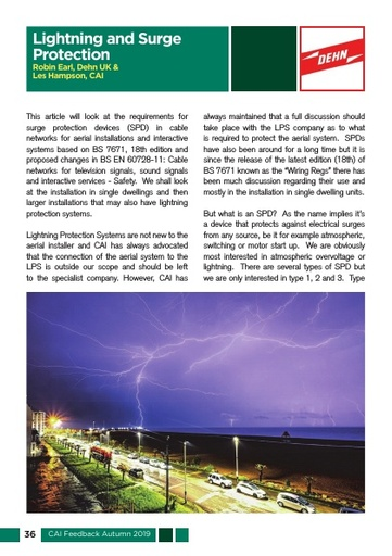 CAI Feedback Lightning Surge Protection Article